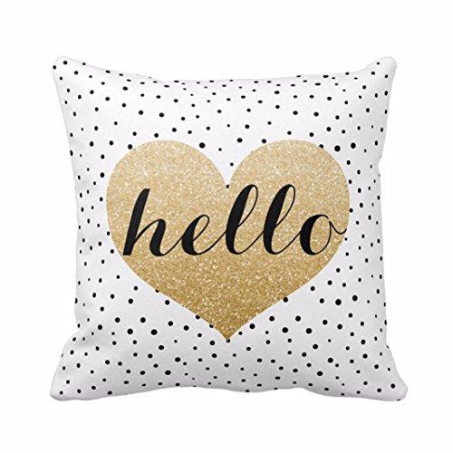 Sunnywill 45cm*45cm Kissenbezug Herz schwarz Punkten Platz werfen Kissenbezug Home Decor (Kissen ist Nicht im Preis inbegriffen)