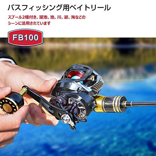 【2020年モデル最新版5点セット】UncleHuベイトリールFB100【365日安心保証】ハンドル(5*8mm)2セット付きスプール2種付きギア比:7.1超強力ブレーキ最大ドラグ力8kg右ハンドル(ディープスプール海釣り+浅構スプール淡水釣り)