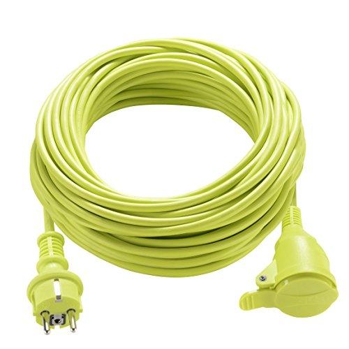 Masterplug Rallonge électrique 40m, Câble IP44 pour Jardín, Prolongateur Chantier 16A at 3000w, Câble Vert 3G1,5mm²