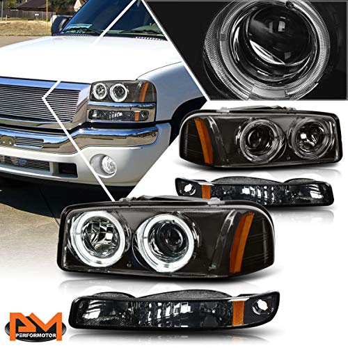 [4Pcs-Set] LED Halo Projector Headlights+Bumper Lamps Assembly Smoked/Amber Compatible with GMC Sierra/Yukon 1999-2007