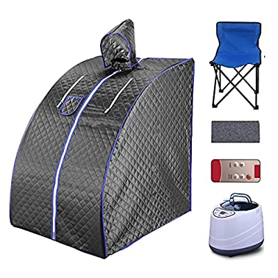 AUTOENERGY Portable Steam Sauna Spa, 2L Personal Sauna for Relaxation at Home,One Person Sauna with Remote Control,Foldable Chair,Timer