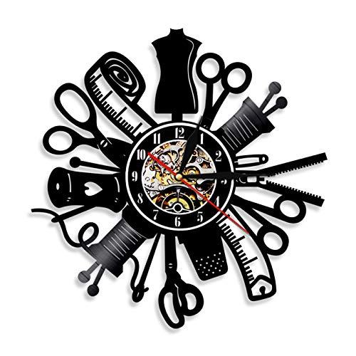 ZZLLL Máquina de Coser Vintage Reloj de Pared Disco de Vinilo Reloj Art Deco de Pared decoración de la Tienda de Moda Letrero de Pared Ideas de Regalo Retro - Sin LED