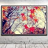 N / A Pintura sin Marco Tierra Hoja otoño Paisaje Plantas árboles Arte Seda Cartel decoración del hogar imagen72X114cm