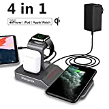 Mangotek Apple Watch Stand Wireless Charger for iPhone and iWatch, 4 in 1 Charging Station with Lightning Connector and USB Port for iPhone 11/11 Pro/X/XR/XS/8 and iWatch Serie 5/4/3/2/1 (Space Grey)