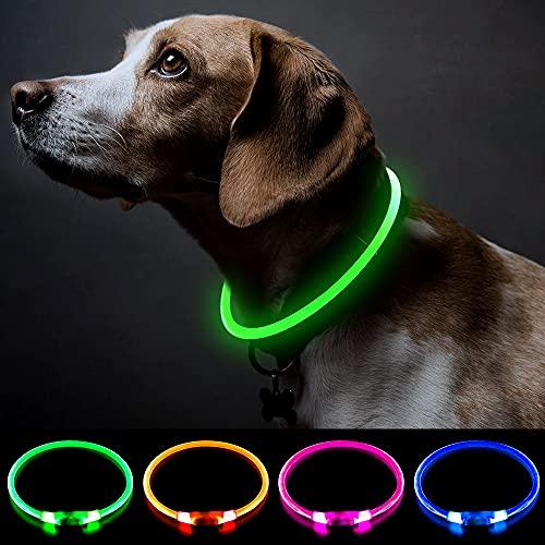 Bseen - Collare con luce a LED per cani, ricaricabile, mini USB