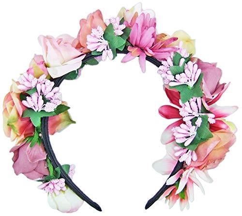 Trachtenland Hochwertiger Blumen Haarreif Blumenwiese - Zauberhafter Haarschmuck zum Dirndl, für Hochzeiten oder Festivals - Rosa