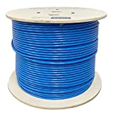 Cat6A Plenum (CMP), 1000ft, 23AWG   100% Solid Bare Copper   Unshielded Twisted Pair (UTP) Bulk Ethernet Cable, Available in Blue, White & Black Color (Cat6A Plenum Blue)