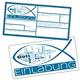15er Set WORTWOLKE Einladungskarten zur Kommunion Konfirmation Firmung Taufe - edle Einladungen zum Ausfüllen für Jungen Mädchen von BREITENWERK