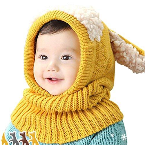 Bebé Linda Oveja Oreja Gorro Tiene Hecho a Mano De Punto Tejer Suave Invierno Más cálido Tiene y Grueso Bufanda,Amarillo