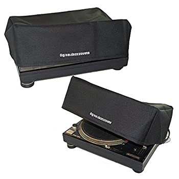 Technics Turntable Dust Cover for SL-1200 / SL-1210 & Pioneer PLX-1000 Record Player Protector [Water Resistant Antistatic Black Premium Fabric] by DigitalDeckCovers