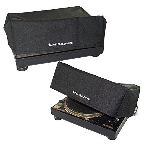 DigitalDeckCovers Technics Plattenspieler-Staubschutz für SL-1200 / SL-1210 & Pioneer PLX-1000 [wasserabweisend, antistatisch, schwarzer Premium-Stoff]