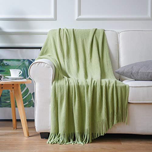 Battilo Home Decorative Soft Throw Blanket Warm & Cozy for Couch Sofa Bed Beach Travel Light Green 50'x60'