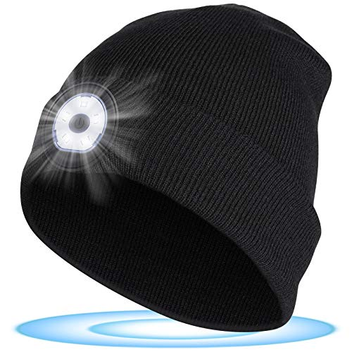 Beanie with Light, Stocking Stuffers for Men and Women, Lighted Beanie Gifts for Birthday Thanksgiving day (Black)