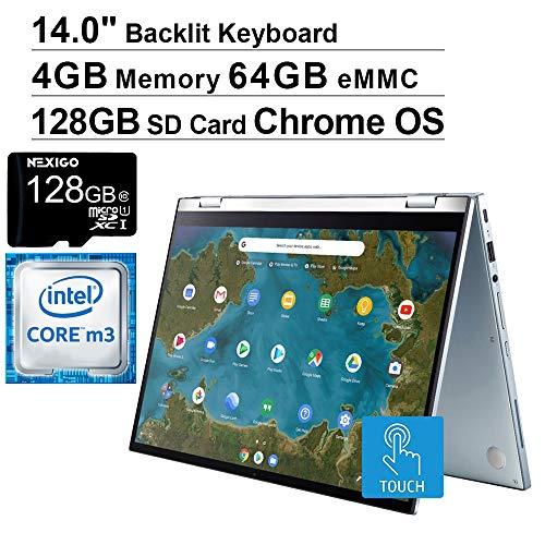 2020 ASUS Chromebook 14 Inch FHD 1080P Touchscreen 2-in-1 Laptop| Intel Core m3-8100Y up to 3.4GHz| 4GB LPDDR3 RAM| 64GB eMMC| Backlit KB| Chrome OS + NexiGo 128GB MicroSD Card Bundle