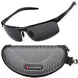 ZILLERATE Sonnenbrille mit polarisierten Gläsern für Männer & Frauen, Herren & Damen-Sonnenbrille für Radfahren, Angeln, Segeln, Wandern, UV-Schutz, leichter Metallrahmen [Schwarz]