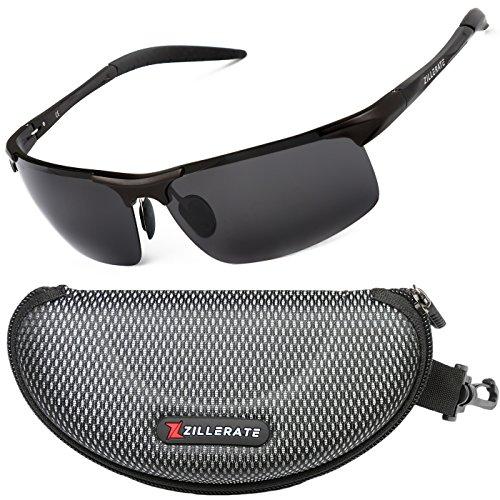 ZILLERATE Gafas de Sol Hombre Polarizadas para Hombre y Mujer, Gafas de Sol de Moda para Conducir, Ciclismo, Pesca, Golf, Senderismo, Protección UV Antirreflejos, Montura ligera de metal [Negro]