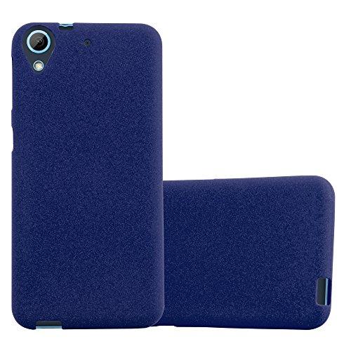 Cadorabo Hülle für HTC Desire 626G - Hülle in Frost DUNKEL BLAU – Handyhülle aus TPU Silikon im matten Frosted Design - Silikonhülle Schutzhülle Ultra Slim Soft Back Cover Case Bumper