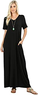 Emma V-Neck Short Sleeve Maxi Dress w/Pockets (S-XXXL)