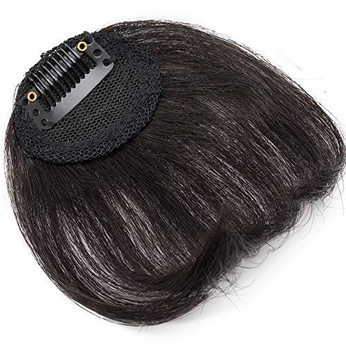 SEGO Clip in Pony Echthaar Bangs One Piece Haarteil In Front Hair Stirnfransen Extension Fringe natürliche 100% Remy Haar Air Pony ohne Tempel-4g Schwarz#1