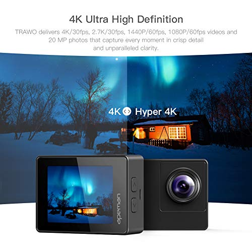 APEMAN A100 Action Cam 4K/30fps UHD WiFi 20MP Unterwasserkamera 40M wasserdichte Camcorder (Extreme EIS Videostablisierung, IPS-Bildschirm, 2x1350mAh Batterien) - 2