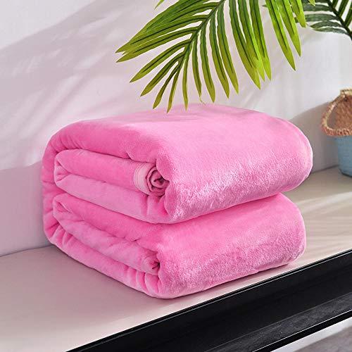 Eastbride Color sólido Sofá Manta de,Manta Nueva de sábana de Color sólido de Terciopelo de visón de Nube-Rosa_180 * 200,Suave y acogedora Manta de Peluche