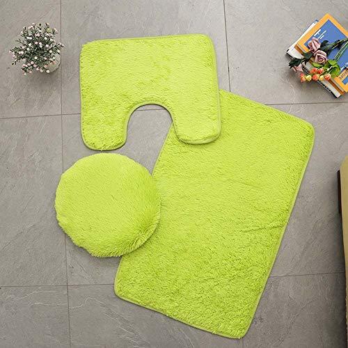 Homieco Alfombra de baño de color sólido 3 piezas suave absorbente antideslizante alfombra de baño alfombras y tapa de inodoro juego lavable, verde