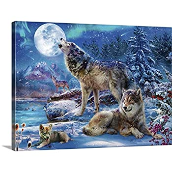 GREATBIGCANVAS Wolves Howling Canvas Wall Art Print Fantasy Home Decor Artwork 16 x12 x1.5