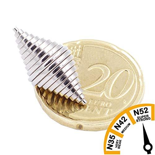 Brudazon | 50 mini schijfmagneten set 1x1mm tot 10x1mm | N52 dikke stand - neodymium magneten ultrasterk | Power magneet voor modelbouw, knutselen | magnetische schijf extra sterk