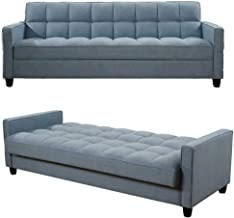 Modern Fabric Sofa Bed 3 Seater Sofa Settee - Convertible Sofa Couch Sleeper - Recliner Couch with Wooden Legs for Living ...