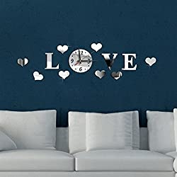 REYO Elephants Mirror Wall Clock Wall, Play Butterfly Sticker DIY Sticker Home (Sliver)