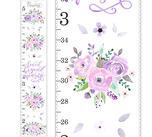 Girls Growth Chart, Canvas Growth Chart, Lavender Pink Roses, Blush Lilac Watercolor Roses, Lilac Blush Floral Wall Art, Nursery Decor, Watercolor Flowers