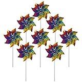 In The Breeze Rainbow Whirl Mylar Pinwheel Spinners, 8-Piece