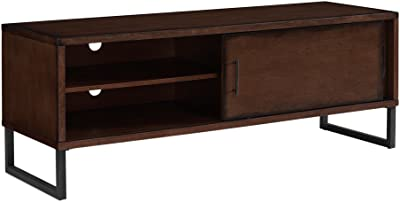 Antique Look Breckenridge Retro-styled Walnut Finished 54-inch Entertainment Center with Powder-coated Legs That Protects Hardwood Flooring