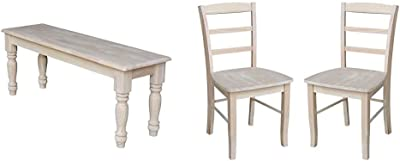 International Concepts Farmhouse Bench, Unfinished & Madrid Dining Chair, Height, Unfinished