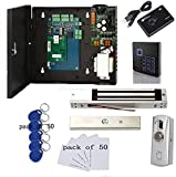 TCP/IP Single Door Access Control System Kits Metal Push to Exit Button Magnetic Lock RFID Keypad Reader 110V Power Supply Box (Phone APP remotely Open Door)