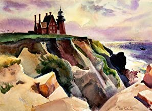 California Watercolor Fine Art Print, Lighthouse Pacific Coast, by Barse Miller, 16 x 22 inches