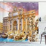 ABAKUHAUS Duschvorhang, Berühmtes Italienisches Trevi Brunnen der Liebe Sehenswürdigkeit in Rome Bild Digitales Druck, Wasser & Blickdicht aus Stoff mit 12 Ringen Schimmel Resistent, 175 X 200 cm