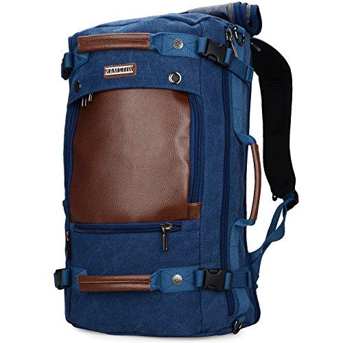 WITZMAN Canvas Rucksack Vintage Reiserucksack Herren Damen Convertible Reisetasche Daypack Laptop Rucksack 17 Zoll (A2021, Blau)