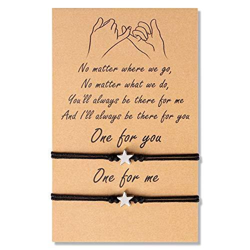 VGWON 2 pulseras de pareja de amistad de larga distancia, promesas iguales para las señoras Pairs, mejores amigos, madre, hija, sol y luna Estrella
