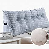 DGYAXIN <span class='highlight'>Stripe</span> <span class='highlight'>Bolster</span> <span class='highlight'>Triangular</span> <span class='highlight'>Large</span> <span class='highlight'>Wedge</span> pillow, Headboard Reading Backrest cushion For sofa bed day bed Tatami Long Upholstered Cushions Double Pillow,40×15×30cm(16×6×12inch)