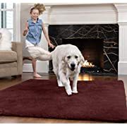 Gorilla Grip Original Faux-Chinchilla Area Rug, 5x7 FT, Many Colors, Soft Cozy Pile Washable Kids Carpet, Rugs for Floor, Luxury Shag Carpets for Home, Nursery, Bed and Living Room, Burgundy