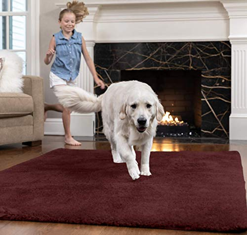 GORILLA GRIP Original Faux-Chinchilla Area Rug, 4x6 FT, Many Colors, Soft Cozy High Pile Washable Kids Carpet, Rugs for Floor, Luxury Shag Carpets for Home, Nursery, Bed and Living Room, Burgundy
