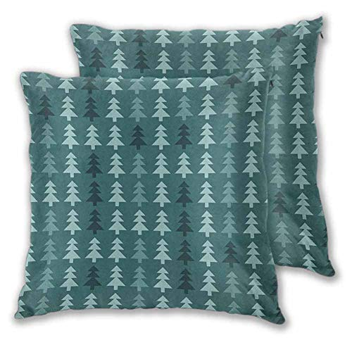 Teal Decorative Pillow Covers, 16 x 16 Inch Abstract Pine Fir Tree Silhouettes Triangular Christmas Wintertime Seasonal Forest Pattern Comfortable and Soft Christmas Decoration Teal Set of 2