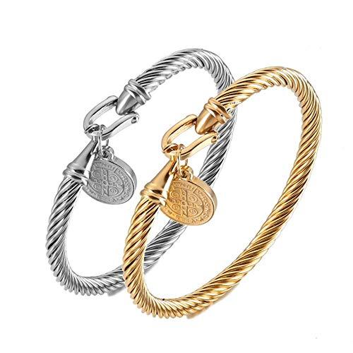 Pulsera de San Benito, para hombre y mujer, elegante, de acero inoxidable, con cierre de gancho, con cruz latina, color plateado y dorado