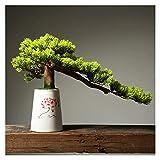 ffshop bonsái Artificial Árbol de Pino Artificial Bonsai, Plantas de casa Artificiales en macicina de 12 Pulgadas, simulación Bienvenido Pino para Adornos Villas de hoteles. para decoració