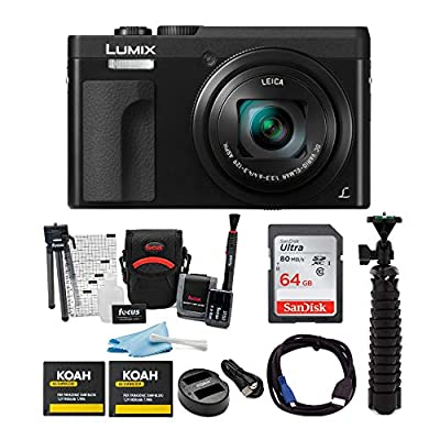 """Panasonic DC-ZS70K Lumix 20.3MP, 4K Touch Enabled 3"""" LCD, 180 Degree Flip-Front Display Bundles from Panasonic"""
