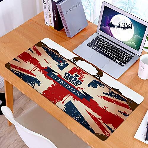 Alfombrilla Ratón Grande Gaming Mouse Maleta de Viaje Vintage con Bandera británica, Cinta de Londres e Imagen de la coronaBase de Goma, Portátil, Ordenador