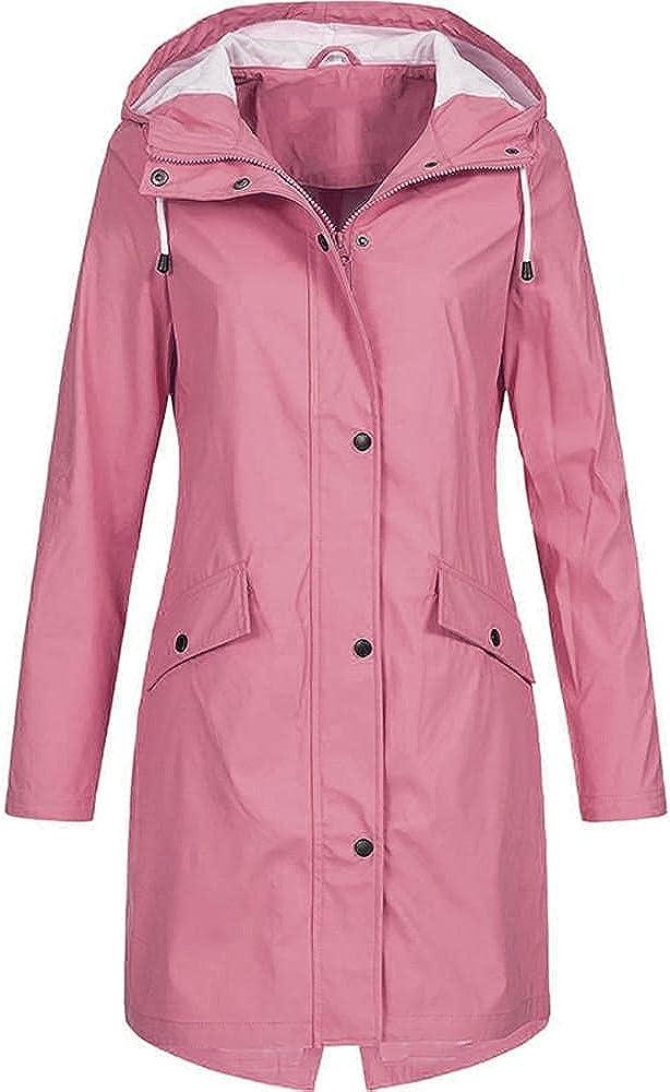 Long Raincoat Women Lightweight Waterproof Active Outdoor Trench Windbreaker Hooded Plus Size Rain Jackets for Girls