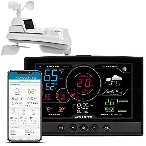 AcuRite Iris 01544 - Estación meteorológica con conexión Wi-Fi inalámbrica para el hogar, color negro