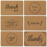 36 Thank You Cards Brown Kraft Envelopes, Blank Paper Notes Set in Bulk, Handwritten Style for Wedding, Business, Baby Shower, 4x6 Inches